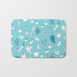 Pastel Vegetables & Herbs Pattern Bath Mat