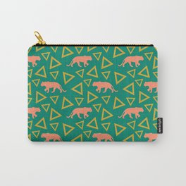 Wild African walking orange lions and abstract triangle shapes. Stylish whimsical ethnic tribal dark green retro vintage geometric animal nature pattern. Carry-All Pouch