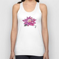 lotus flower Tank Tops featuring Lotus by Art by Risa Oram