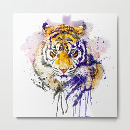 Tiger Head Portrait Metal Print
