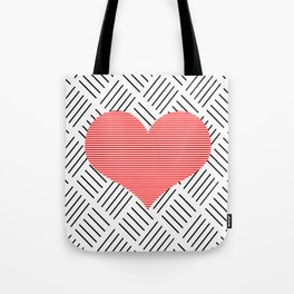 Red heart - Abstract geometric pattern - black and white. Tote Bag