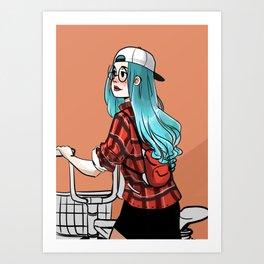 Blue Haired Girl Biker //Comic Art Print