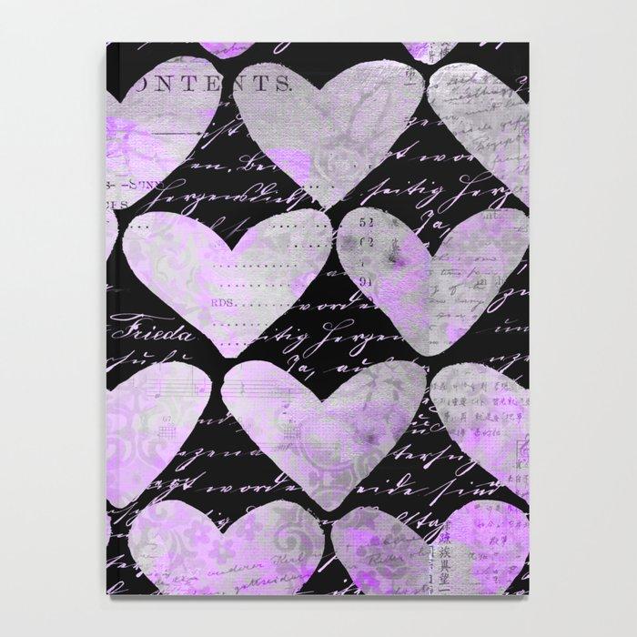 Pink Purple Heart Typography Pattern Notebook