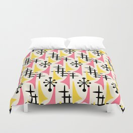 Mid Century Modern Atomic Wing Composition Pink & Yellow Duvet Cover