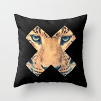 leopard Throw Pillows featuring Leopard by Zavu