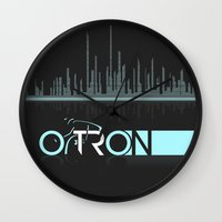 tron Wall Clocks featuring Tron Minimalist by Ed Burczyk