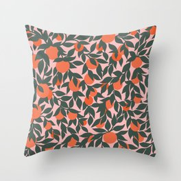 Oranges and Leaves Pattern - Pink Throw Pillow