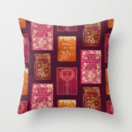 Vintage Book Cover pattern Throw Pillow