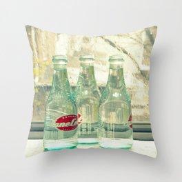 rainy day ~ vintage soda bottles Throw Pillow