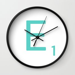 Aqua Scrabble Letter E Wall Clock