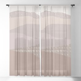 Muted Dusty Abstract Mountain Landscape Sheer Curtain