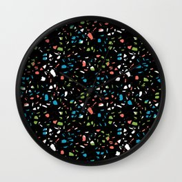 Abstract terrazzo bright colorful pattern design trendy pattern print Wall Clock