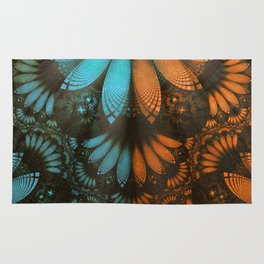Shikoba Fractal -- Beautiful Leather, Feathers, and Turquoise Rug