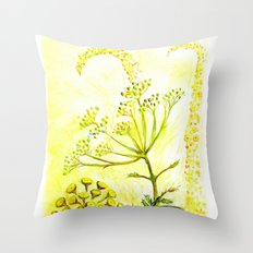 Tansy and Great mullein Throw Pillow