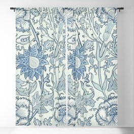William Morris Beautiful floral pattern, blue,rose,william Morris pattern, art nouveau pattern Blackout Curtain
