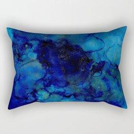 NEW Alcohol Ink Deep Blue Trip I Rectangular Pillow