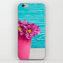 Pink Flowers x Turquoise Wood iPhone Skin