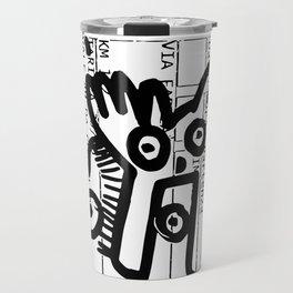Street Art Graffiti Black and White on French Train Ticket Travel Mug