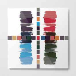 Bold brushstrokes with mosaic stripes Metal Print