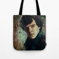 sherlock Tote Bags featuring Sherlock by Sirenphotos