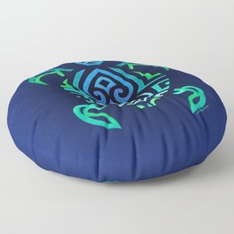 Tribal Turtle Ombre Background Floor Pillow