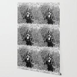 doberman dog red flowers meadow vector art black white Wallpaper