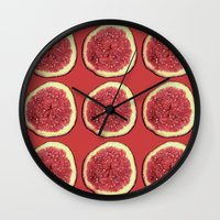 fig Wall Clocks featuring fig by Panic Junkie