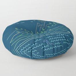 Outdoor solitude - line art Floor Pillow