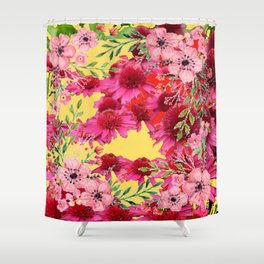 FUCHSIA-PINK FLOWERS YELLOW ART PATTERNS Shower Curtain