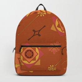 Orange Geometric Pattern Backpack