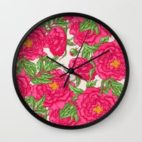 peonies Wall Clocks featuring peonies by melazerg