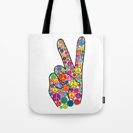 Cool Colorful Groovy Peace Sign and Symbols Tote Bag