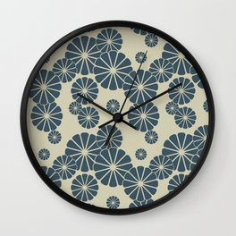 Blue Floral Japanese Pattern 2 Wall Clock