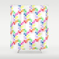 pixel Shower Curtains featuring Pixel by AJJ ▲ Angela Jane Johnston