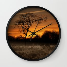 A Herd Of Red Deer At Sunset Wall Clock