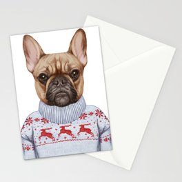 Animals as a human. French Bulldog in down vest and sweater. Stationery Cards