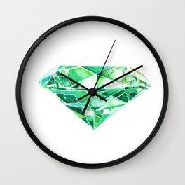 Emerald Watercolor Gem Wall Clock