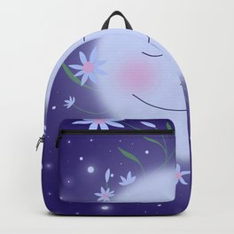 Smiling Moon and Star Flowers Backpack