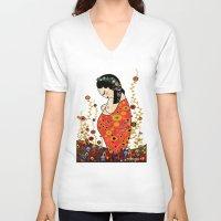 klimt V-neck T-shirts featuring Kokeshi Hope of Klimt by Pendientera