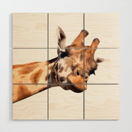 Giraffe portrait Wood Wall Art
