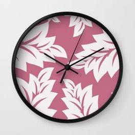 tropical pink leaves Wall Clock