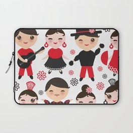Spanish flamenco dancer. Kawaii cute face with pink cheeks and winking eyes. Gipsy Laptop Sleeve