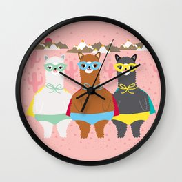 Alpaca Superheroes I Wall Clock