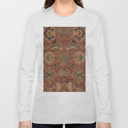 Flowery Boho Rug IV // 17th Century Distressed Colorful Red Navy Blue Burlap Tan Ornate Accent Patte Long Sleeve T-shirt