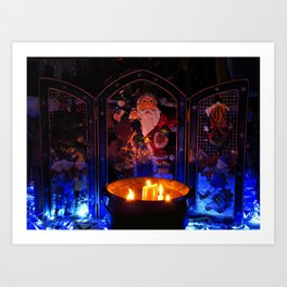 Candlelit Santa Art Print