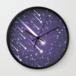 Flying meteors. Ultra violet. Wall Clock
