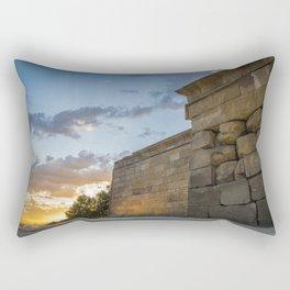 Sunset on egyptian Debod Temple in Madrid Rectangular Pillow