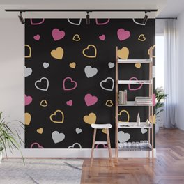 Stylized hearts pattern 3 Wall Mural