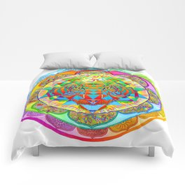Inner Strength Psychedelic Tiger Sri Yantra Mandala Comforters