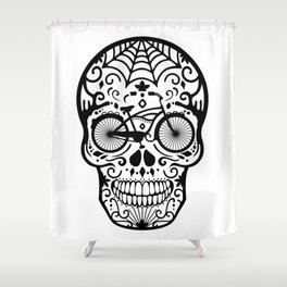 Vintage Mexican Skull with Bicycle - black and white Shower Curtain